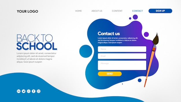 Landing page back to school colorfull with brush