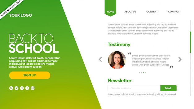 Landing page back to school green testimony