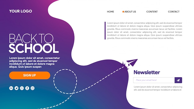 Landing page back to school purple newsletter