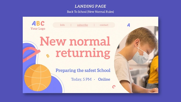学校のテンプレートに戻るランディングページ