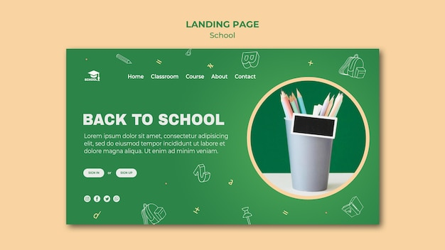 Шаблон целевой страницы обратно в школу