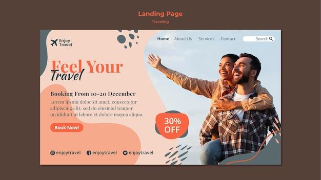 Pagina di destinazione per zaino in viaggio con coppia