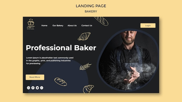 Landing page bakery ad template