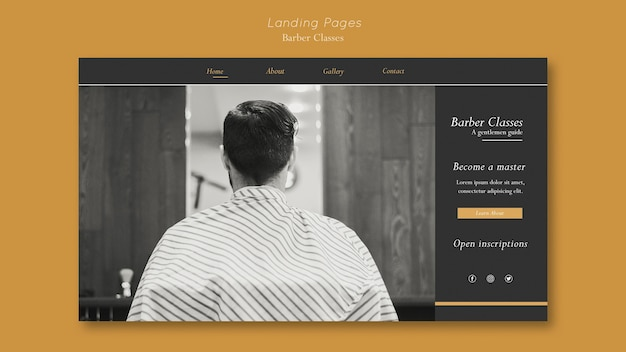 Landing page for barber classes
