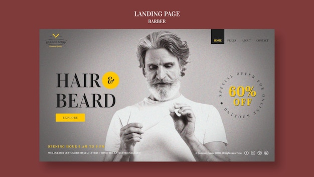 Landing page barber shop ad template