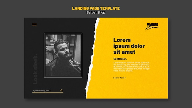 Landing page for barber shop business