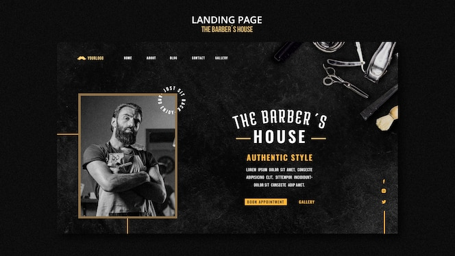 landing page barber shop template
