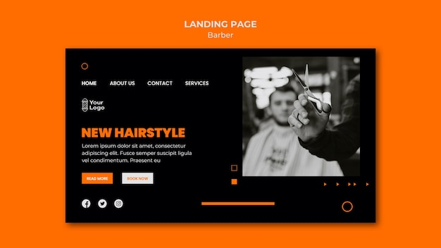 Landing page barber shop template