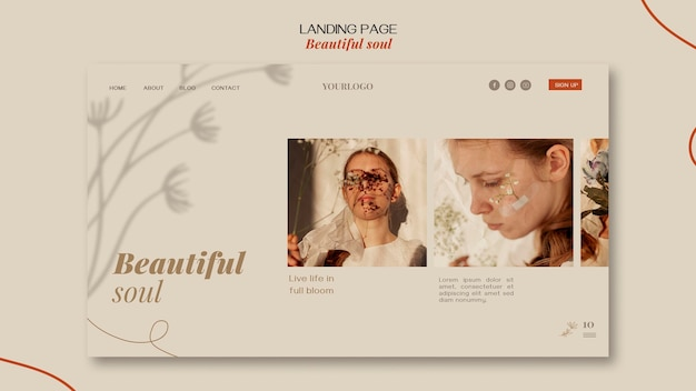Landing page beautiful soul ad template