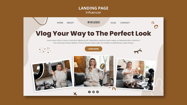 Landing page for beauty vlogger with young woman