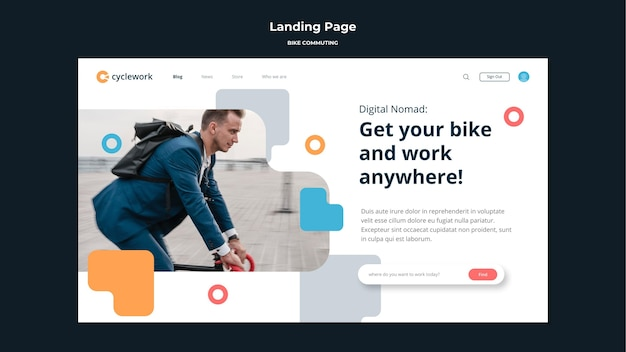 Landing page for bicycle commuting with male passenger