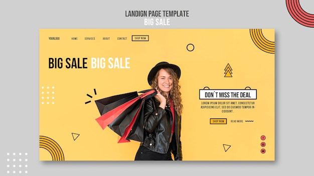 Landing page for big sale with woman and shopping bags