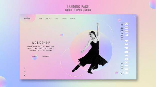 Landing page for body expression workshop