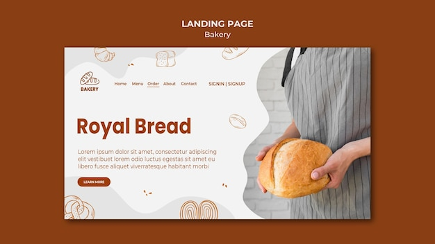 Landing page for bread baking shop