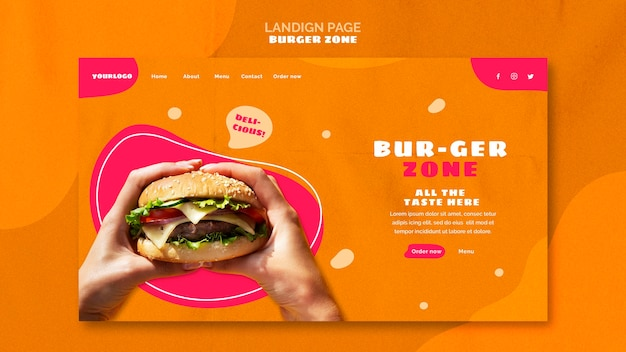 Landing page for burger restaurant