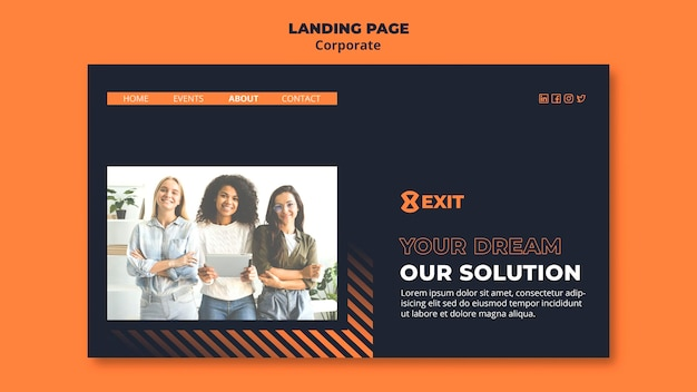 Landing page for business corporation