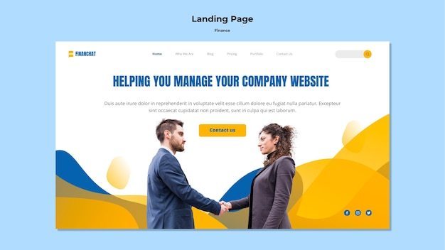 Landing page for business and finance seminar