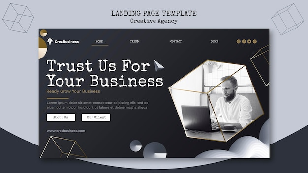 Landing page for business partnering company