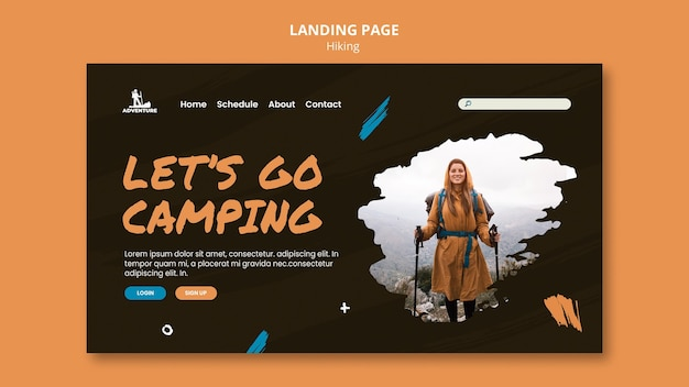 Landing page camping and hiking template