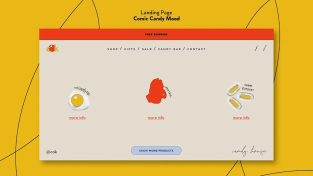 Pagina di destinazione per caramelle in stile fumetto