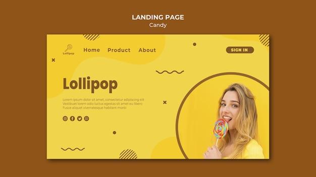 Modello di negozio di caramelle della pagina di destinazione
