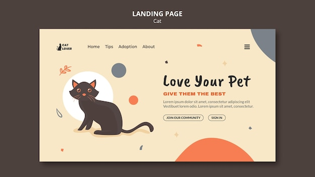 Landing page for cat adoption