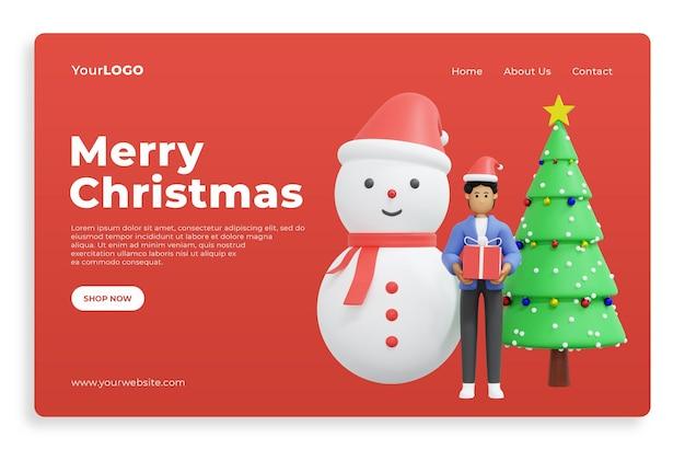 크리스마스 3d 렌더링 3d 그림을 축 하 하는 방문 페이지 premium psd