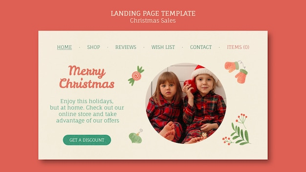 Landing page for christmas sale with children