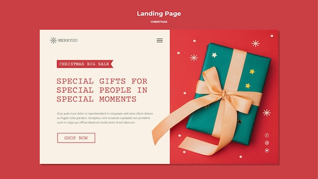 Landing page for christmas sale