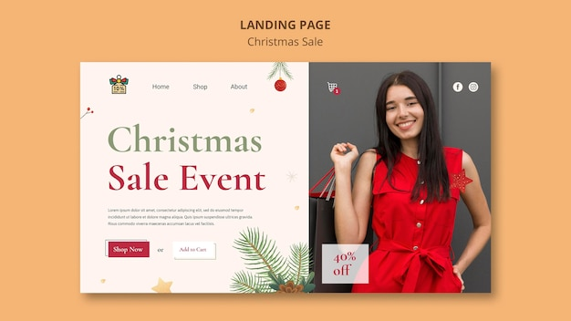 Landing page for christmas sale