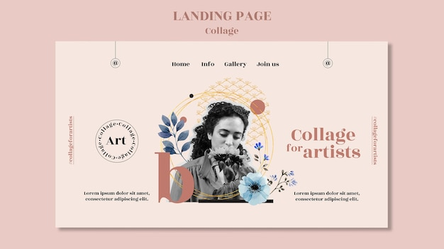 Landing page collage for artists template
