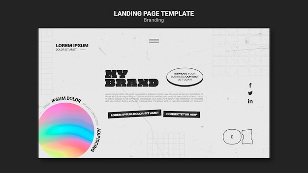 Landing page for company branding with colorful circle shape