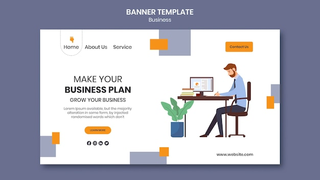 Landing page for company with creative business plan