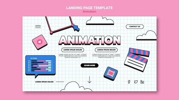 Landing page for computer animation