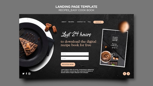 Landing page cook book template