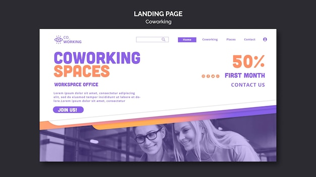 Landing page for coworking space