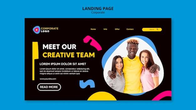 Landing page for creative corporate team
