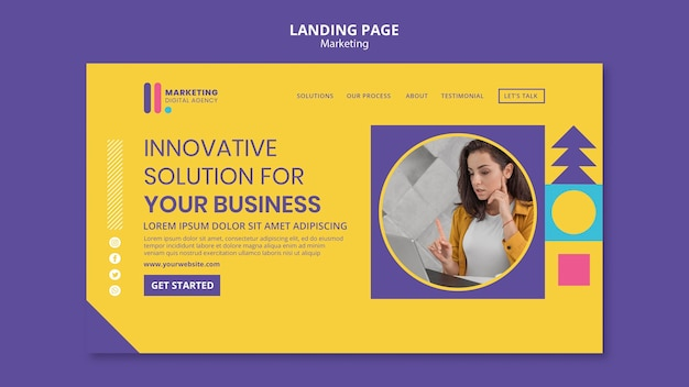 Landing page for creative marketing agency Free Psd