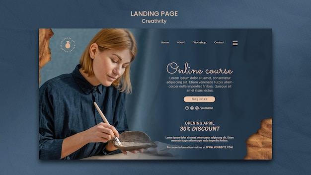 Landing page for creative pottery workshop with woman