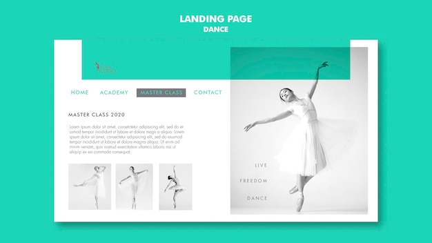 Landing page dance academy template