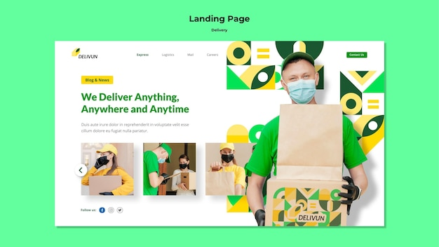 Landing page for delivery company