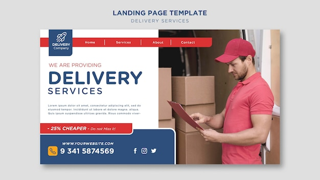 Landing page delivery services template