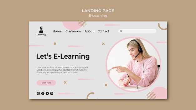 Landing page design e-learning concept