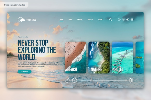 Landing page design layout for travel website