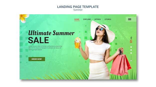 Landing page design summer sale