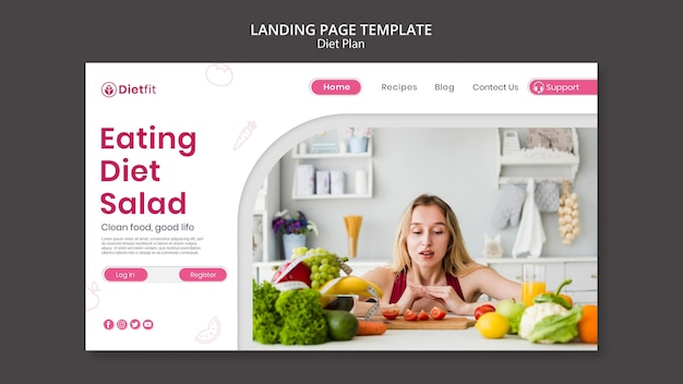 Landing page diet plan template
