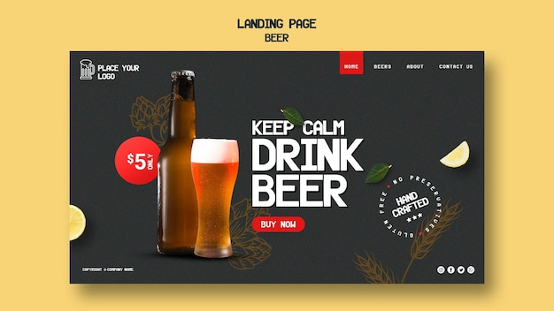 Landing page for drinking beer
