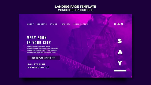 Landing page in duotone with musicians in concert