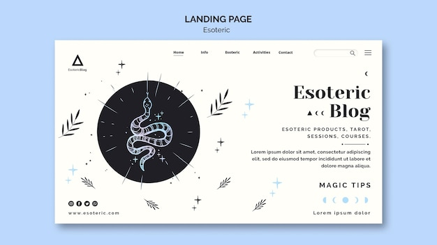 Landing page for esoteric blog