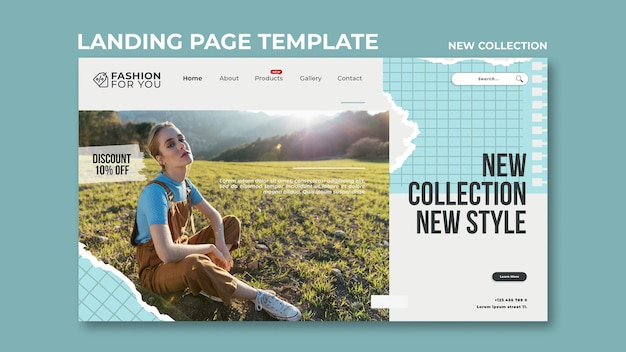 Landing page for fashion collection with woman in nature